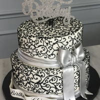 Scroll Work Cookies and cream cake