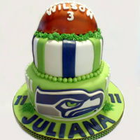 Seattle Seahawks Birthday Cake Marshmallow Fondant covered Seahawks themed birthday cake