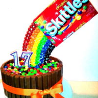 Skittles Rainbow Birthday Cake With Kitkats KitKat Birthday Cake with sugar cookie skittles rainbow