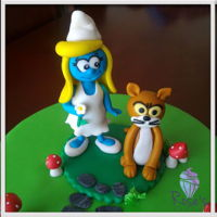Smurfette Cake Topper Smurfette and Azrael cake topper made out of gumpaste