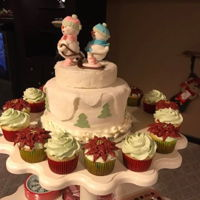 Snow People Baby Shower Cake And Cupcakes Baby Shower cake - fondant snow people