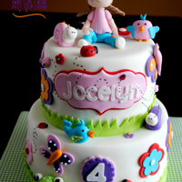 Spring In The Garden! This is a two tier 6 & 8 covered in fondant. The little girl and garden creatures are handmade from fondant. Thanks for looking!