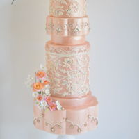 Sri Lanka Inspired Wedding Cake My design was inspired by Purnima Abeyratne Inspirations, a designer for Sri Lanka Brides. The lace and designs in each tier are fondant...
