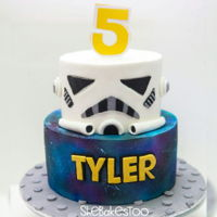 Star Wars Cake  For a little boy who loves storm troopers :D I've been waiting for my chance to try a Galaxy cake and I love the way this turned out...