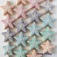 Stars In A Row | Sweet Prodigy These are mini star cookies with my signature stringwork pattern.