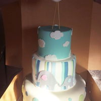 Stork/elephant - Baby Shower   3 tier cake
