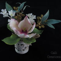Sugar Floral Posy Sugar Flower posy consisting of magnolia, gum nuts, eucalyptus and white blossoms. For a class in Brisbane (Australia) Cake Show in May...