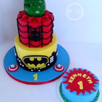 Super Hero Cake 1st birthday cake6''+8''
