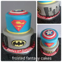 Superhero Birthday Cake A two tiered birthday cake decorated in a superhero theme