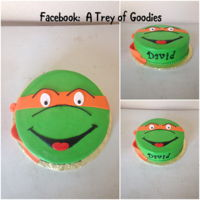"Teenage Mutant Ninja Turtle Cake 10"" one layer Ninja Turtle cake. Iced in Buttercream. Decorated in Fondant."