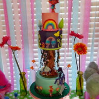 Trolls Land I made this for my daughters 8th Birthday, she wanted a trolls themed cake. Fondant 4in,6in,8in