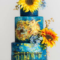 "Van Gogh Wedding Cake Hand Painted Wedding Cake. Inspired by Van Gogh sunflower paintings. I Handpainted Van Gogh ""starry nights"" and ""sunflowers&..."