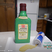 Whiskey Bottle No Red Bull Can Cake   Bottle and can are fondant covered cake.spilled Red Bull is gelatin.