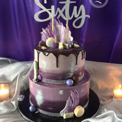 60Th Drip Cake   beautiful ombre' tones of purple with ganache drip and silver luster accents