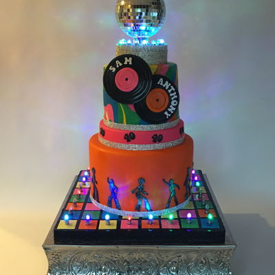 70's Themed Birthday Cake