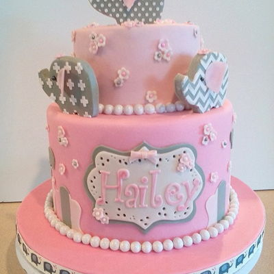 Baby Girl Elephant Baby Shower Cake