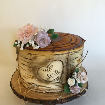 Birch Tree Engagement Cake