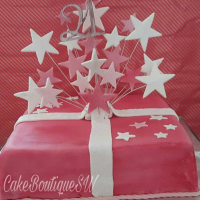 Birthday Cake   This is a three layer ribbon cake. This was airbrushed in a rich pink shade with 21stars, for a special birthday.