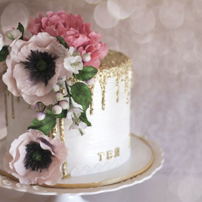 Furry Golden Drip Cake  Well we all love this golden drip but this time I wanted to make it my way. So this is it…furry golden drip cake with peony and...