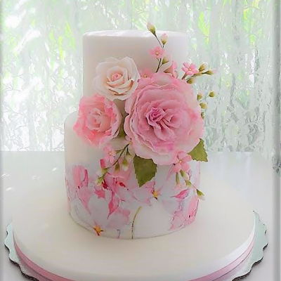 Pink Cake With Flowers For A Baby Girl