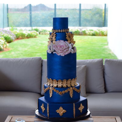 Royal Blue Baroque Cake