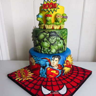 Superheroes Birthday  I had a lot of fun Handpainting this cake as a gift for a little boy turning 5. He's a big superheroes fan. I used some artistic...