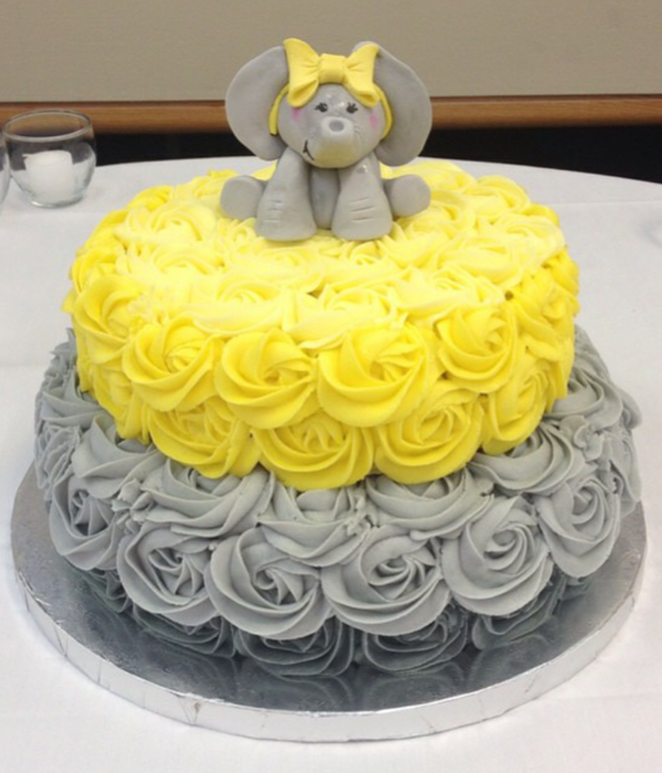 Yellow And Grey Elephant Baby Shower Cake