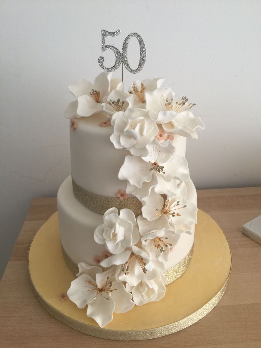 50th Birthday Cake With Fondant Flowers Cakecentral