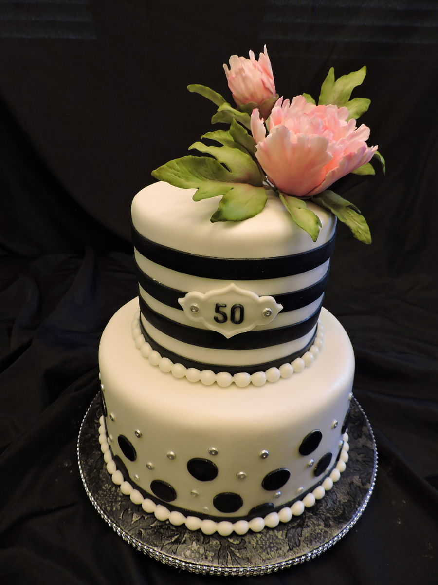 Cake With Fondant Peony : 50Th Birthday Peony Cake - CakeCentral.com