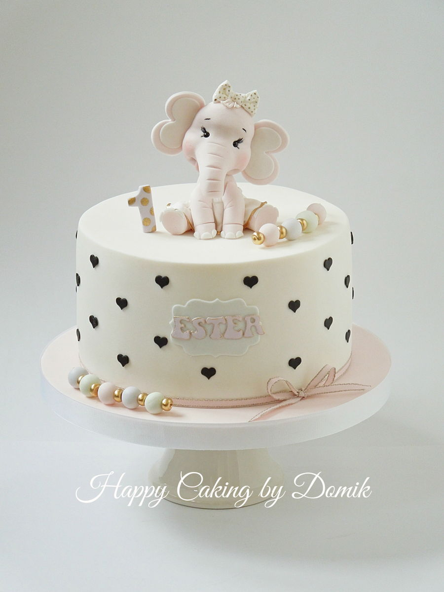 Baby Girl Elephant Cake Toppers