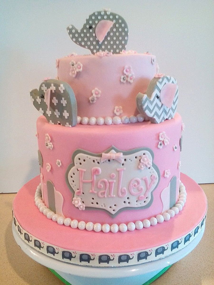 Baby Girl Elephant Baby Shower Cake Cakecentral Com