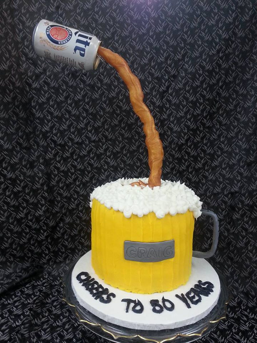 Beer Anti-Gravity Cake on Cake Central