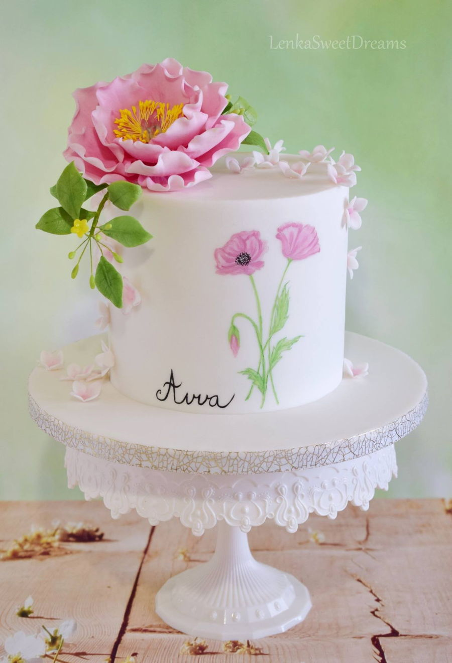 Birthday Cake With Sugar Flowers CakeCentralcom