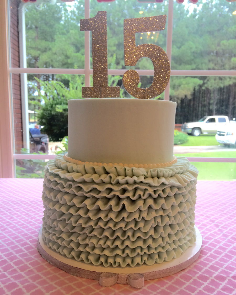 This Is A Simple Yet Elegant Design For Teenage Girls Birthday Party The Cake And Ruffles Are Done In Buttercream