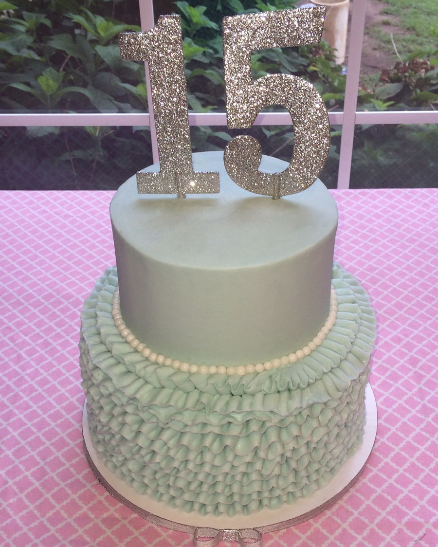 Blue Ruffle Birthday Cake Cakecentral Com