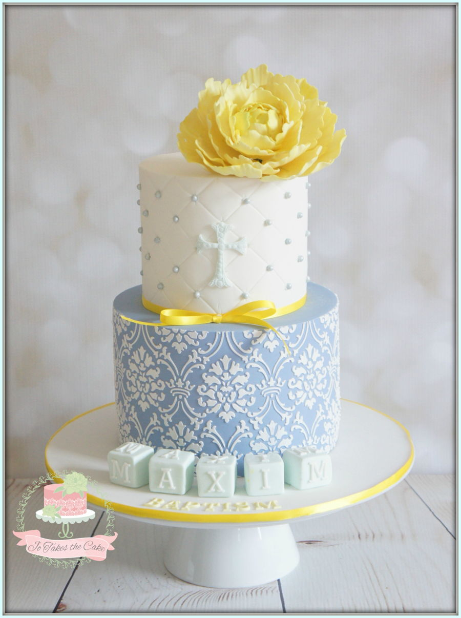 Blue Yellow Baptism on Cake Central