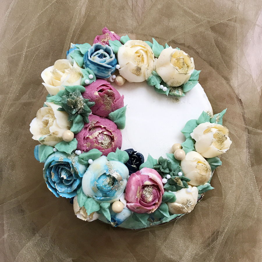 Buttercream Floral Wreath Cake - CakeCentral.com