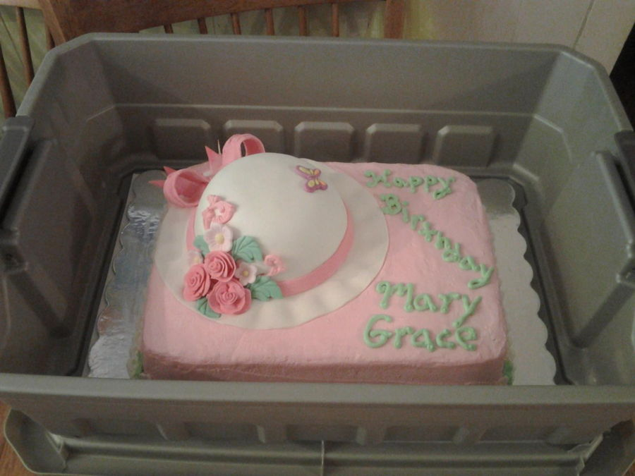 Floral Hat Or Bonnet Birthday Cake For A 90 Year Old Lady