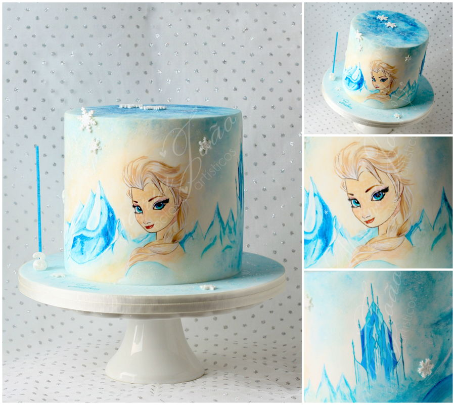 Frozen Hand Painted Cake on Cake Central