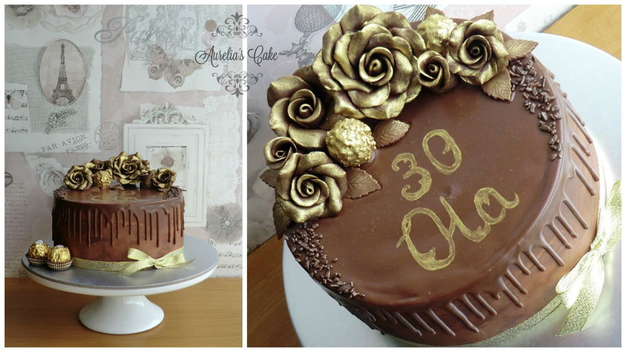 Gold Chocolate Roses Cake Cakecentral Com
