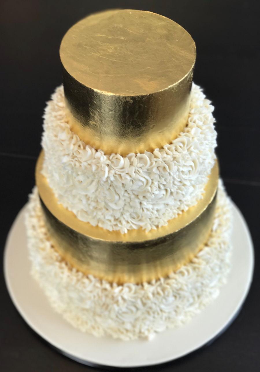 Gold Leaf Wedding Cake - CakeCentral.com