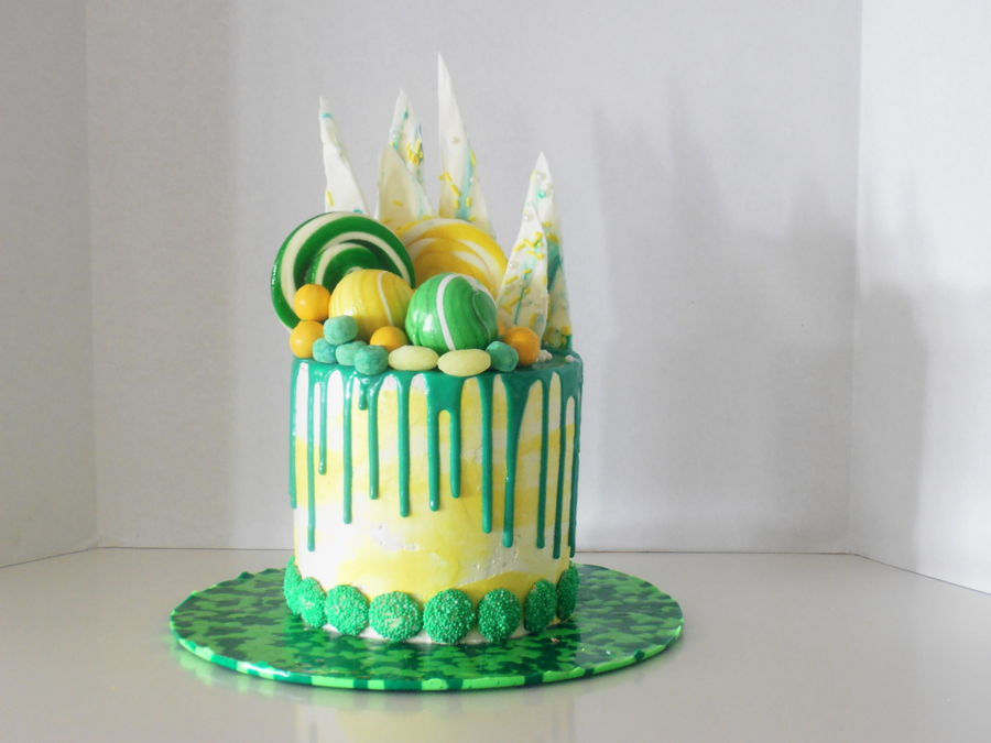 Green And Yellow Drip Cake