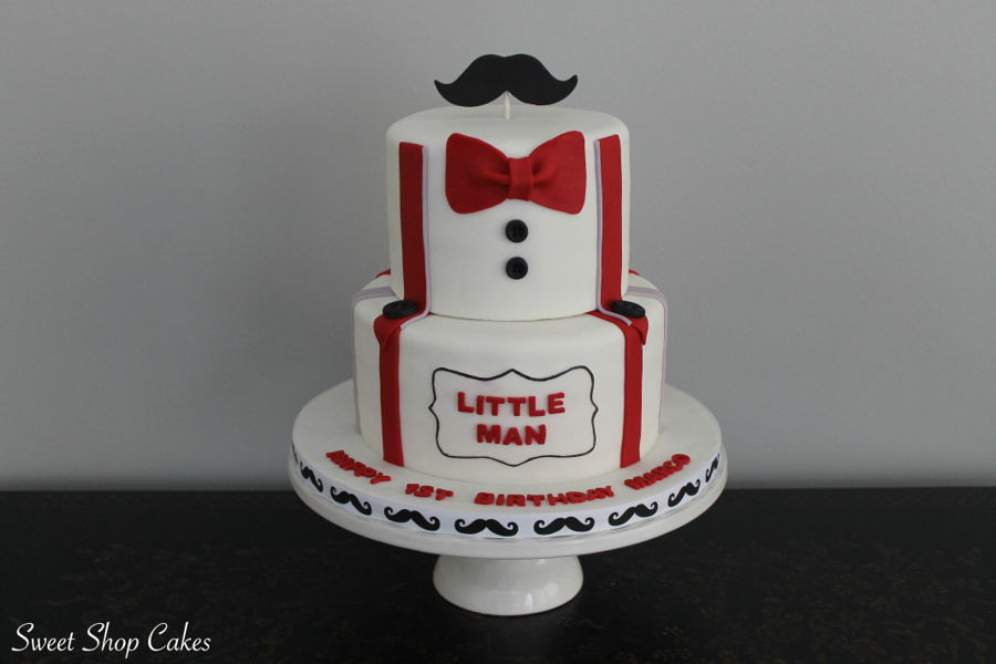 Little Man Themed First Birthday Cake CakeCentralcom