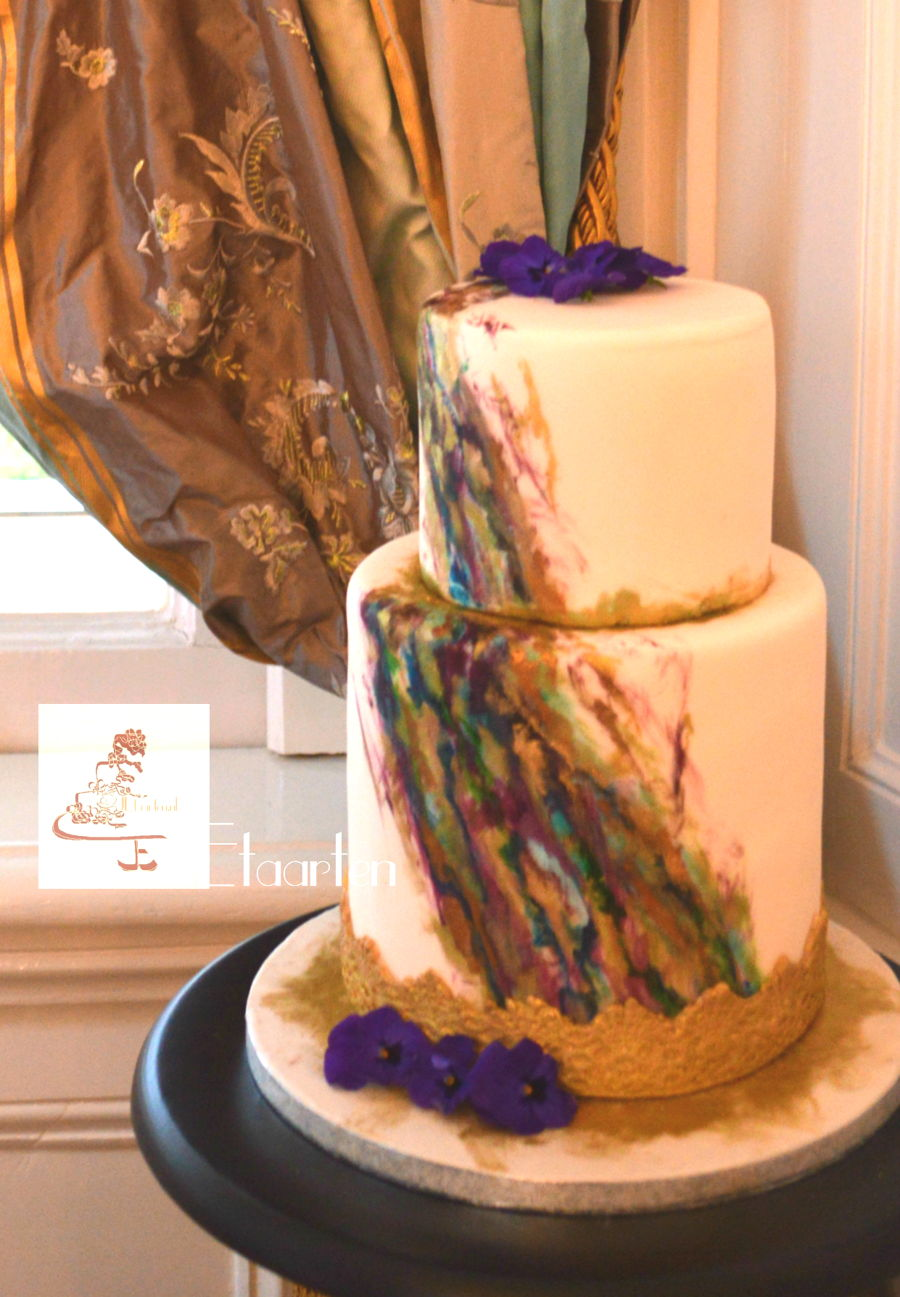 Marble Efffect Wedding Cake on Cake Central