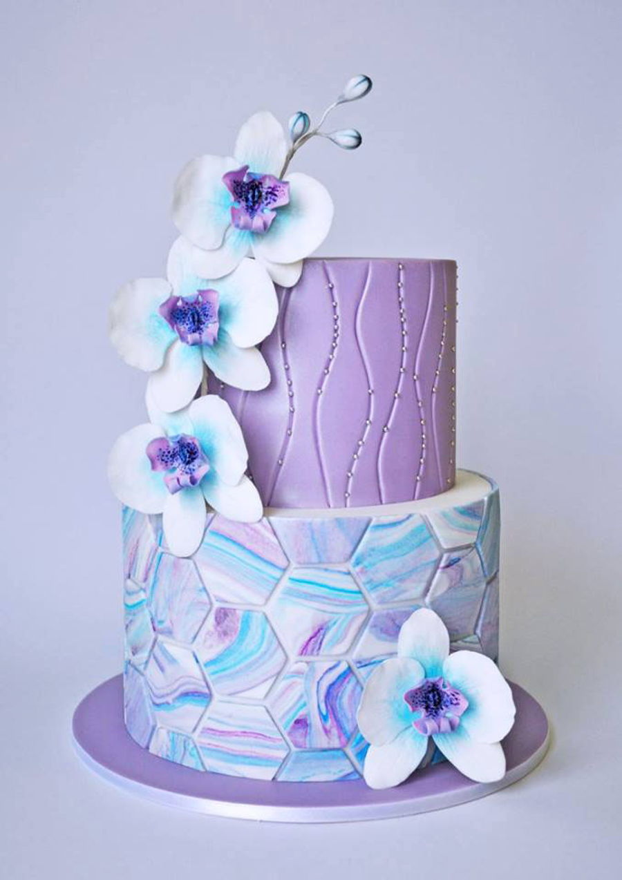 Marble Orchids on Cake Central