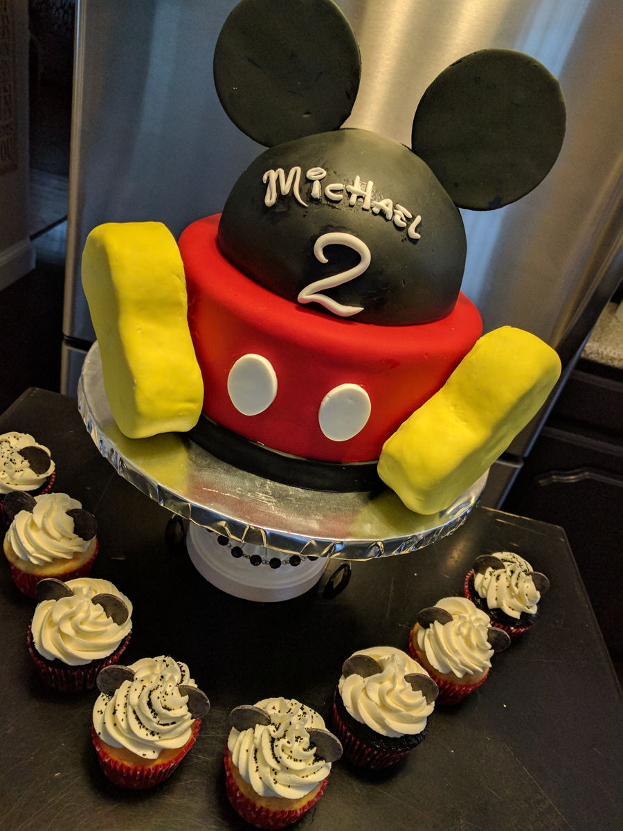 Mickey Cake And Cupcakes on Cake Central