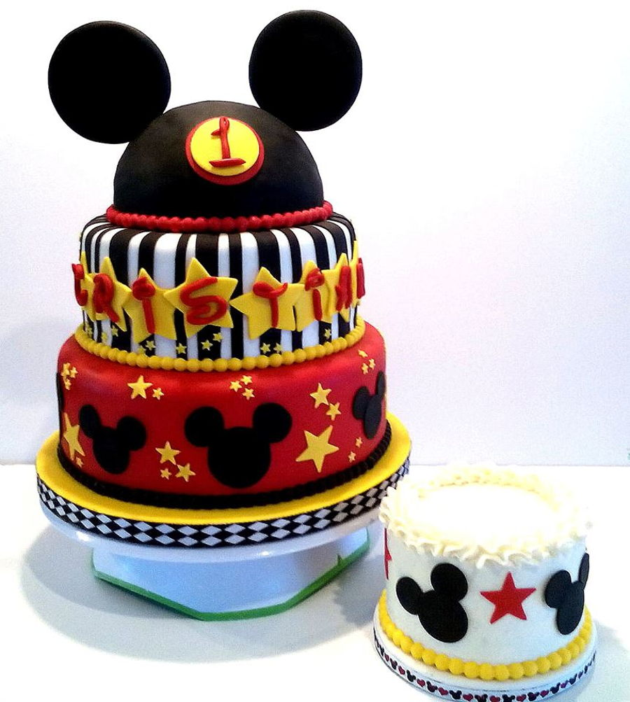 Mickey Mouse Smash Cakes Buttercream: Mickey Mouse Themed 1St Birthday Cake And Smash Cake