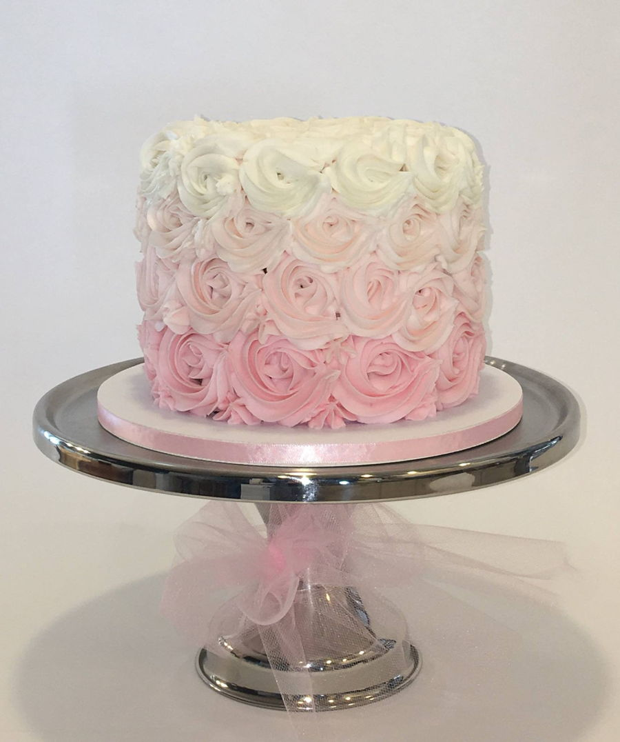 Ombre Buttercream Rosette Cake on Cake Central