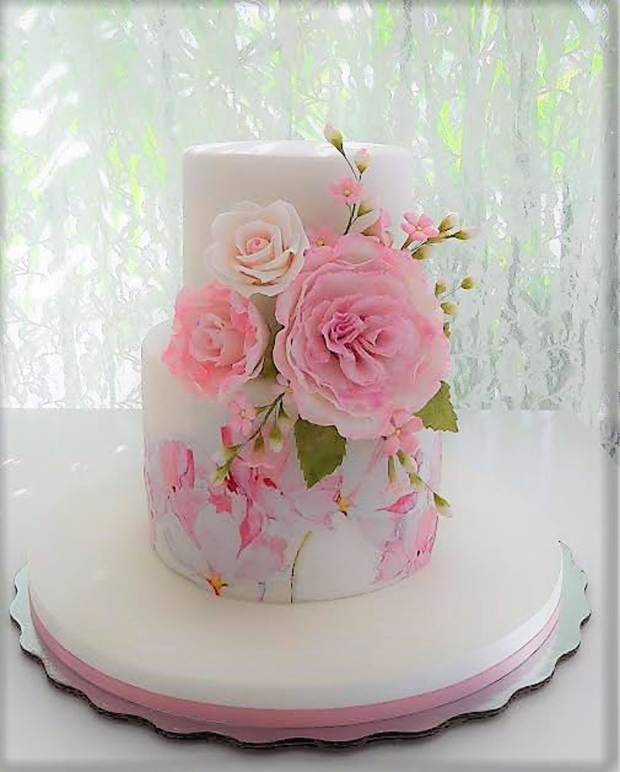 Pink cake with flowers for a baby girl cakecentral pink cake with flowers for a baby girl on cake central mightylinksfo