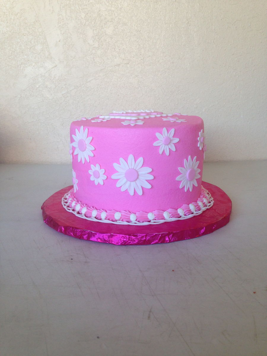 Pink With White Daisy Cake Cakecentral Com
